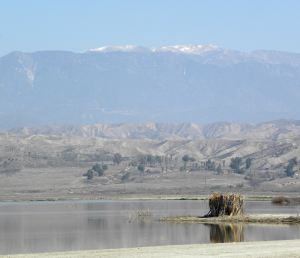 By noon the fog had lifted, showing snow on Mt. San Jacinto. Palm Springs is on the other (east) side of the mountains.