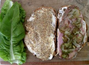 Yum, yum, a ham sandwich made with my homemade bread and butter pickles from last summer, and freshly picked Deer Tongue lettuce from my garden.
