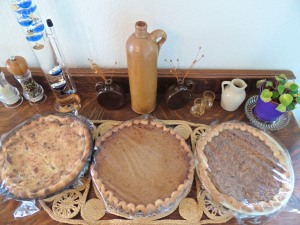 All three pies were homemade: Crumb-top apple, pumpkin (from one of my homegrown pumpkins), and pecan. The pumpkin and pecan pies used eggs from our chickens.