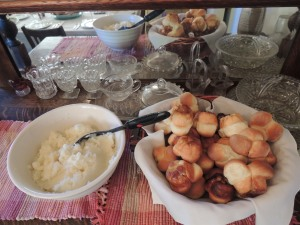 Mashed potatoes and homemade cloverleaf yeast rolls with carmel pecan bottoms. The chickens contributed the eggs for the rolls.