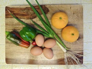 Breakfast makings, all from the garden and our hens!