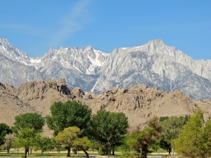View of Alabama Hills and Eastern Sierras from the visitor center south of Lone Pine