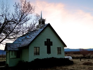 Little green church at Benton Crossing Road and Hwy 395.