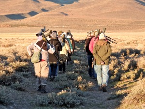 The group hiked to the lek, approaching very slowly, and never getting close enough to disturb the birds.