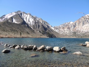 Convict Lake is a beautiful spot. A few people spotted a dipper in the stream.