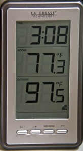 This is the temperature on our back deck as of a half hour ago. It is up to 99.1 now. I HATE the heat!
