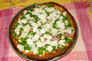 Finished White Pizza with Arugula and Prosciutto