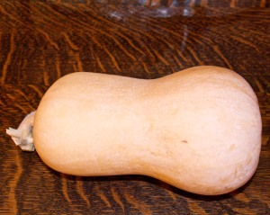 This is our last butternut from the fall harvest of 2014. They stored very well, with no rotting this year.
