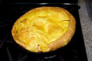 This is my German pancake fresh from the oven, cooked in my husband's great-grandmother's cast iron skillet.
