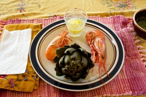 Spot Prawns and home-grown artichokes for lunch.