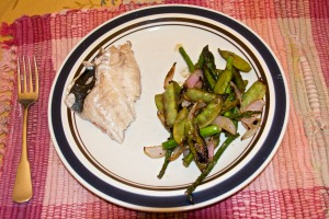 I grilled a mix of asparagus, snow peas and onion in a grill basket, and that was our dinner.