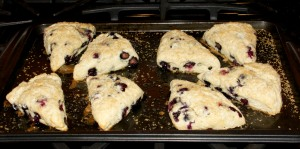 I made a batch of blueberry scones from scratch.