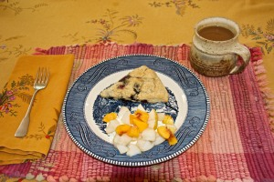 We had scones for breakfast along with fruit from our garden (Asian pears and the peach) on cottage cheese.