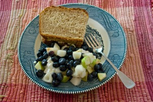 Some of those apples and pears mixed with blueberries go well on a pile of cottage cheese. Add a tuna sandwich on home baked sourdough bread and you have a Slow Food lunch.