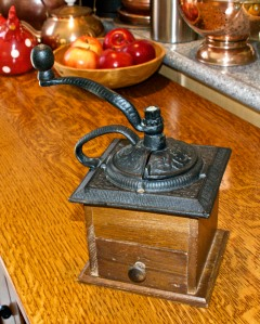 I bought an antique coffee grinder from Goodwill. It actually works, and all four kids grind coffee beans for us.