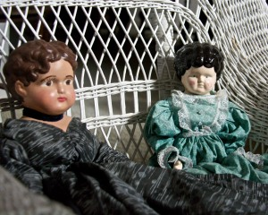 Even toys were different in pioneer times. My grandmother had a china head doll from her childhood in the late 1800s. These are reproductions that I bought at Goodwill.