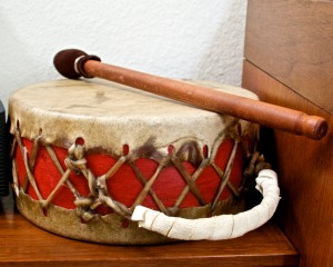 We usually play with Native American artifacts like this beautiful drum.
