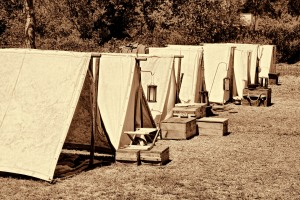 Tents in the Confederate camp.