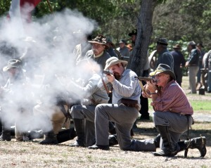 The Confederates fire more volleys.